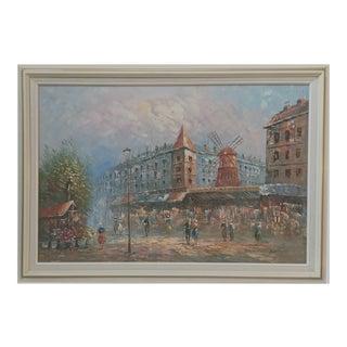 Paris Moulin Rouge Street Scene Framed Oil Painting Signed Burnett
