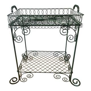 Bistro-Style Green Latticework Table With Detachable Tray