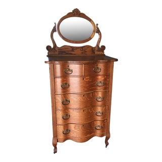 Serpentine Oak Dresser with Mirror
