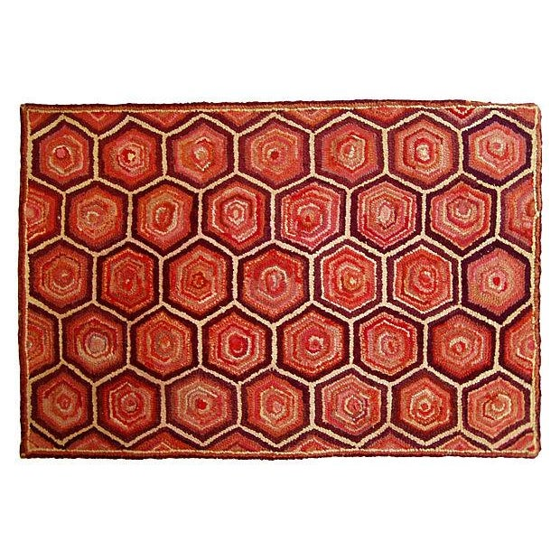 Honeycomb American Hand-Hooked Rug - - Image 1 of 2