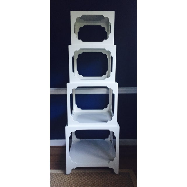 White Lacquered Stacking Cube Tables - Set of 4 - Image 2 of 9