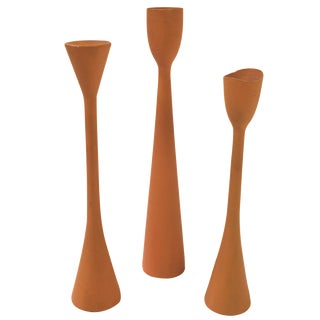 Danish Modern Wooden Candle Holders - Set of 3