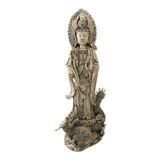 Chinese Quan Yin Blanc De Chine Statue On Dragon