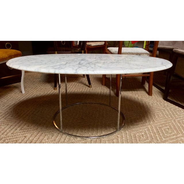 Carrera marble chrome oval cocktail table chairish for Table carrera
