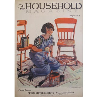 1925 The Household Magazine Original Vintage Cover, August Fiction Feature Edition