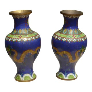 Vintage Chinese Cloisonne Brass Painted Blue Dragon Vases - A Pair