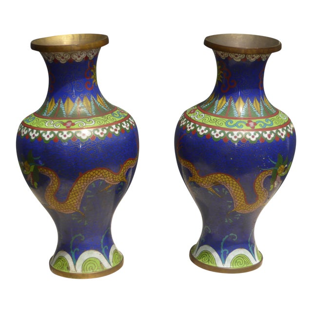 Vintage Chinese Cloisonne Brass Painted Blue Dragon Vases - A Pair - Image 1 of 11
