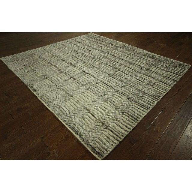 "Wool & Silk Pile Gray Moroccan Rug - 7'4"" x 8'2"" - Image 2 of 10"