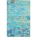 """Image of Blue Hand-Knotted Sari Silk Rug - 5'1"""" X 7'11"""""""