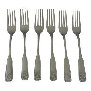 Shell Design Stainless Steel Dinner Forks - Set of 6