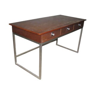 Vanleigh Mid-Century Walnut & Chrome Desk