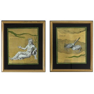 Glass Astrological Paintings - A Pair