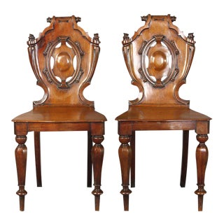 English William IV Carved Mahogany Hall Chairs - A Pair