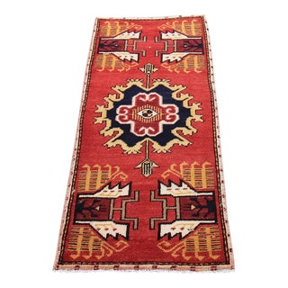 Mid-20th C. Vintage Antique Tribal Oushak Hand Knotted Turkish Rug - 1'7 X 3'5