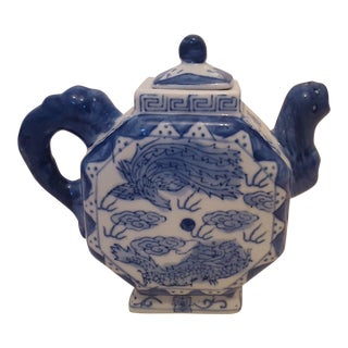 Vintage Blue and White Asian Chinoiserie Porcelain Teapot
