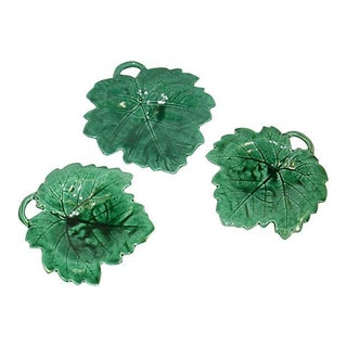 Majolica Leaf Footed Dishes - Set of 3