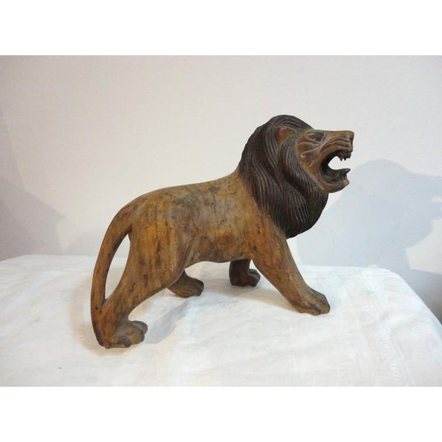 Pair of 19th Century Monumental Hand Carved & Painted Table Top Lions - Image 4 of 10