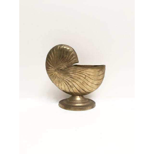 Vintage Brass Nautilus Shell Planter - Image 3 of 9