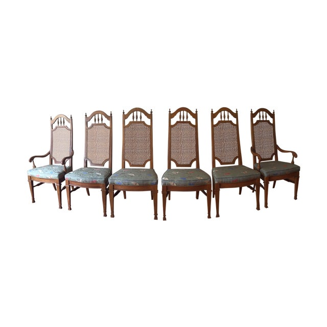 Spanish Revival Cane Back Dining Chairs - Set of 6 - Image 1 of 11