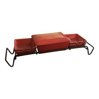 Mid-Century Red Glazed Pottery Smoking Caddy - Set of 5