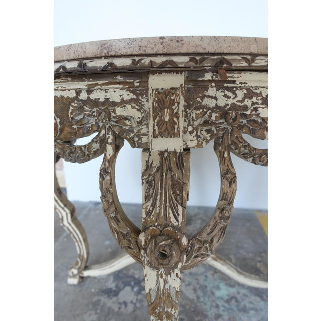 French Carved & Painted Stone Top Table - Image 5 of 10