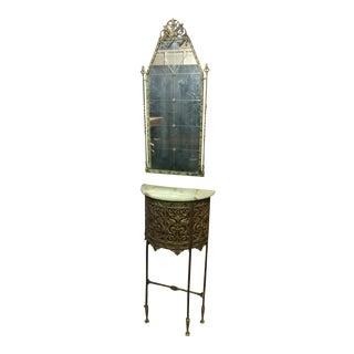 Oscar Bach Marble Top Bronze Stand & Mirror - A Pair