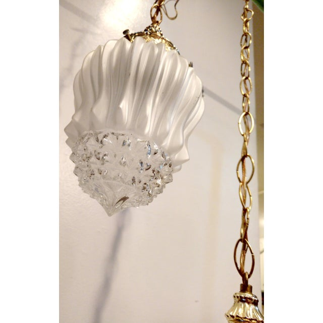 Vintage Frosted Diamond Cut Double Pendant Hanging Lamp - Image 7 of 8