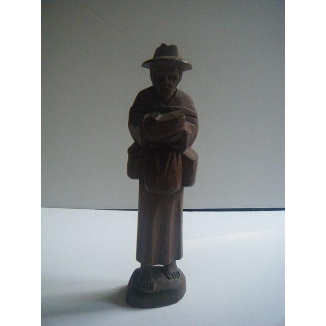 Vintage Handcarved Ecuadorian Wooden Farmer Statue - Image 2 of 4