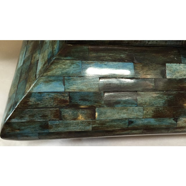 Rare Mid-Century Large Aqua Blue Tessellated Wood Box - Image 4 of 9