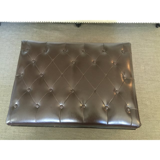 Image of Leather and Wood Ottoman