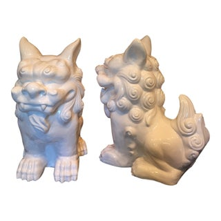 Oversized White Foo Dogs - A Pair