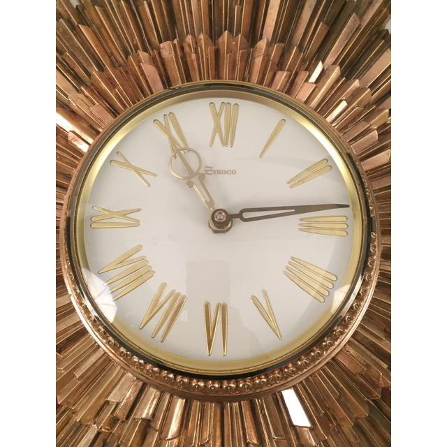Mid-Century Syroco Sunburst Wall Clock - Image 3 of 11