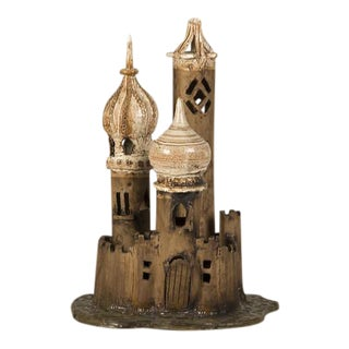 Vintage Polish Hand Made Earthenware Fantasy Castle circa 1950