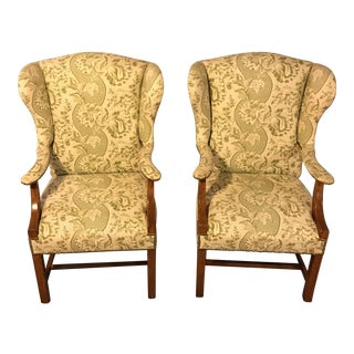 Green Pierre Frey Wing Back Chairs - A Pair
