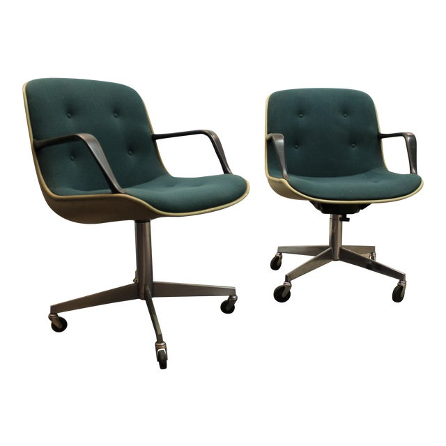 Pair Of Mid Century Groovy Green Steel Case Office Arm Chairs On Wheels Cha
