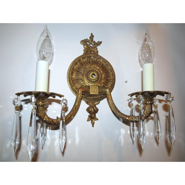 Dual Arm Crystal Prism Wall Sconce - Image 2 of 11