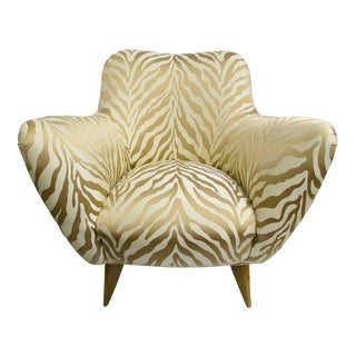 Mid-Century Upholstered Zebra Print Arm Chair