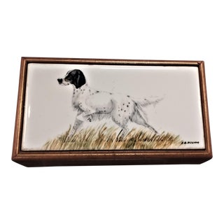 Porcelain Hand Painted Pointer Image Trinket Box
