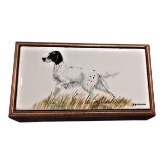Vintage Box. Hand-Painted Porcelain Lid. Leather Trinket Box. Pointer Image.
