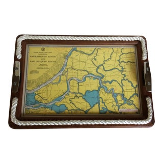 Nautical Sacramento River Sounding Chart Map Serving Tray