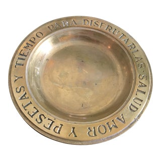 Vintage Solid Brass Catchall With Spanish Phrase