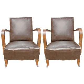 1940s Vintage French Art Deco Walnut Club Chairs - a Pair
