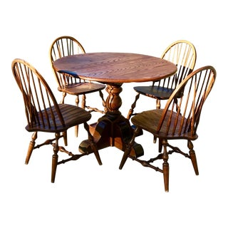 Vintage Round Oak Table With Four Windsor Chairs - Dining Set