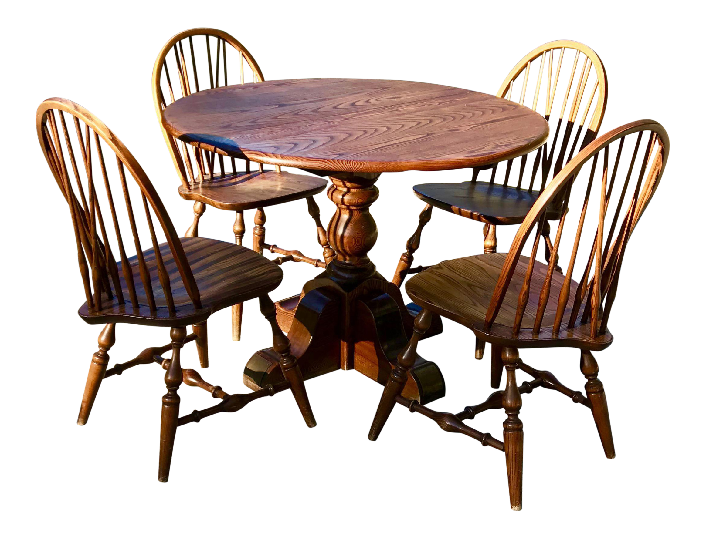 Vintage Round Oak Table With Four Windsor Chairs   Dining Set