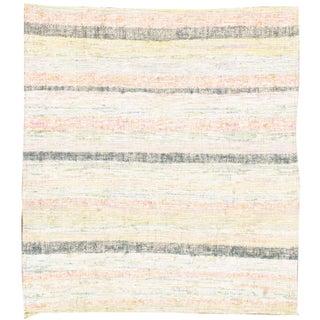"Vintage Turkish Kilim Striped Rug - 3' x 3'3"""