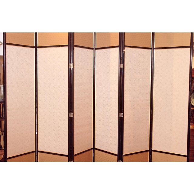 Large Neo Classical Six-Panel Black Lacquer and Fabric Screen/Room Divider - Image 5 of 11