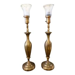 Solid Brass Art Nouveau Torchiere Table Lamps - A Pair