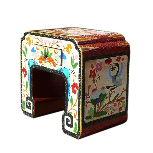 Chinese Off White Flower, Bird & Fish Stool - Image 3 of 6
