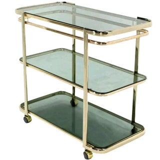 Italian Brass & Smoked Glass Bar Cart