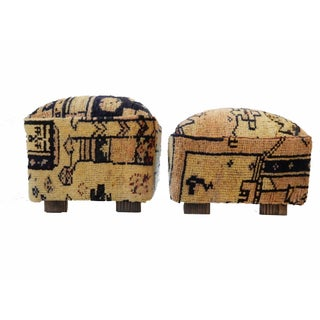Tribal Herat Rug Ottomans- A Pair